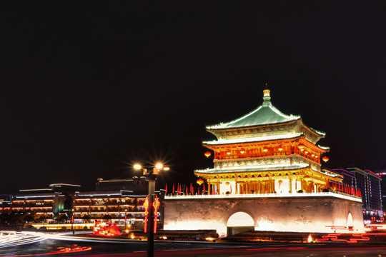 陕西西安古城墙建筑景色图片