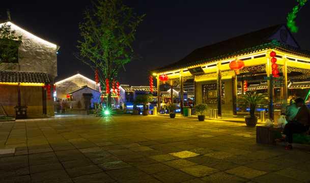 江苏无锡荡口古镇夜景图片