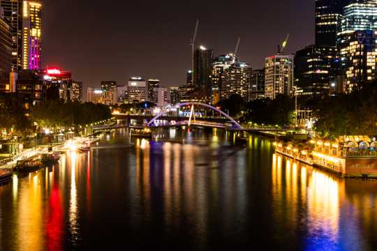 澳大利亚墨尔本都市夜景图片