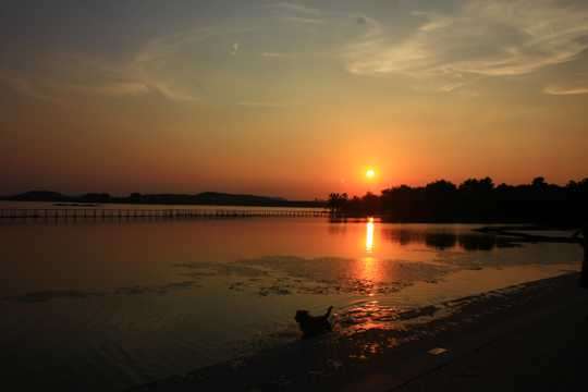 江苏无锡蠡湖日落自然风光图片
