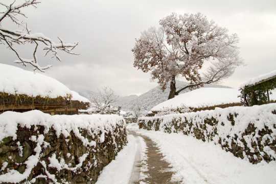 冬日路面积雪景观图片