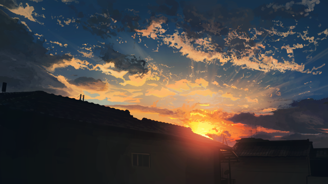 油画日落光景图片