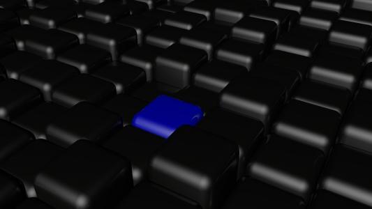 一个蓝色立方体