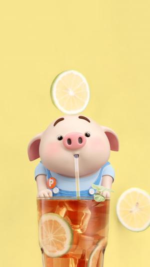 喝柠檬红茶的可爱猪小屁