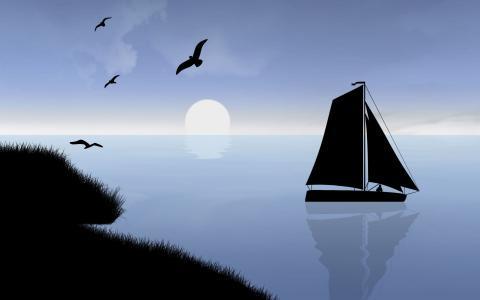 在日落时的船