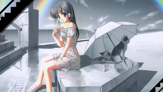 在彩虹下的可爱女孩
