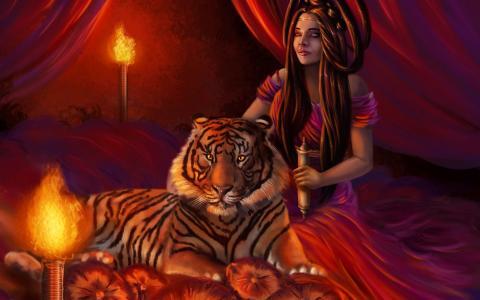 公主与她的宠物老虎