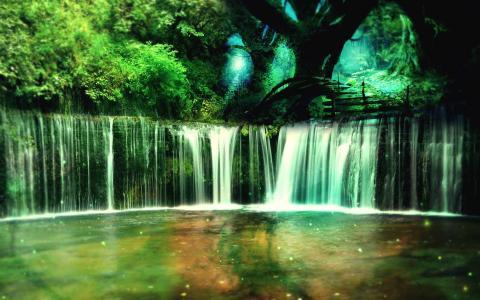 在森林里灿烂的瀑布
