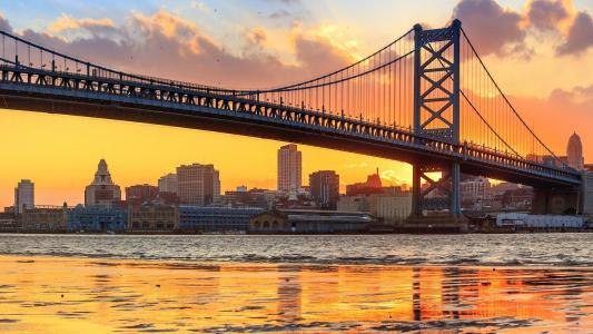 美国纽约旧金山大桥傍晚风光景色