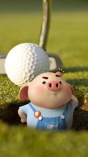 高尔夫球洞的呆萌猪小屁