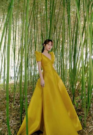 杨紫芥黄阔肩袖长裙优雅写真