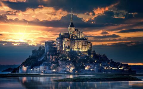 城堡日落图片
