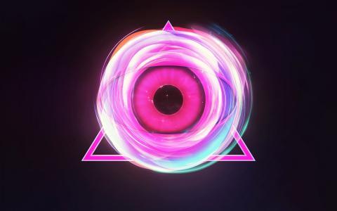 在一个粉红色的三角发光的眼睛