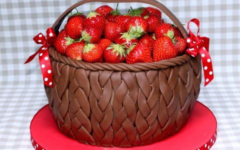 与草莓的巧克力篮子
