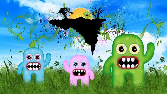 可爱的怪物在草地上