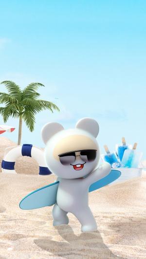 沙滩冲浪的笨笨熊