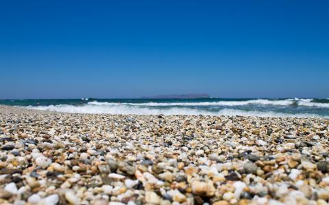 在海滩上的鹅卵石
