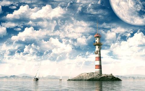 帆船和灯塔