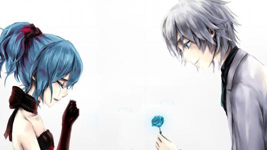 哭泣的女孩提供了一朵蓝玫瑰