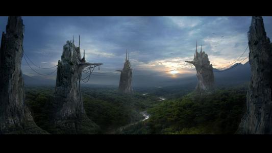 丛林之上的山峰上的城市