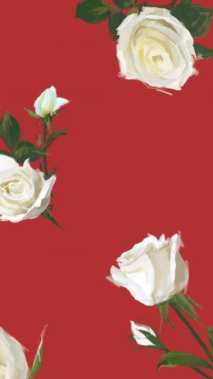 七夕情人节唯美浪漫玫瑰花手绘
