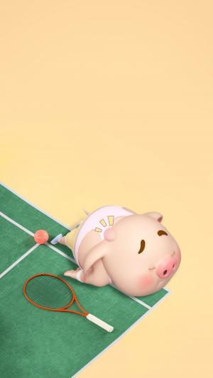 打网球累趴的猪小屁