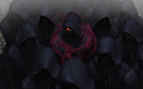 在雨中的黑暗罩