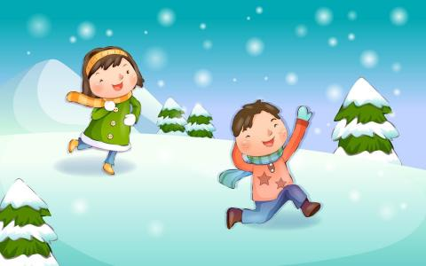 男孩和女孩在雪地里玩