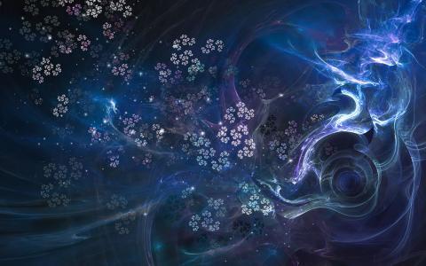 蓝色的漩涡和鲜花