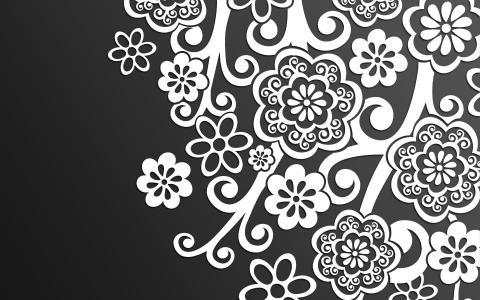 白色的花卉图案