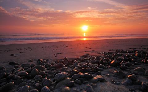 在海滩上的日落