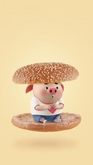 可爱的猪小屁汉堡