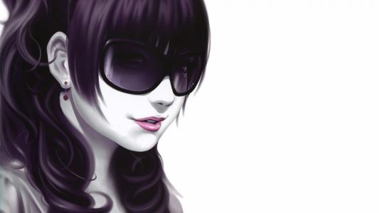 紫色的头发和太阳镜