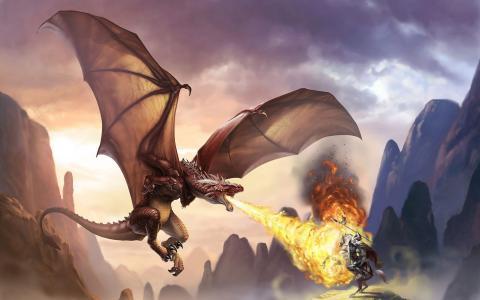 龙用火焰杀死战士