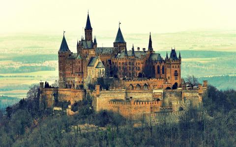 复古城堡唯美自然风光
