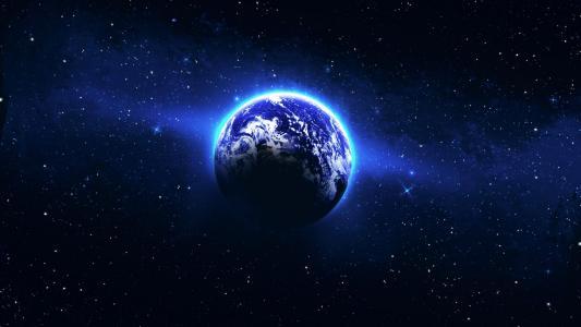 在地球附近的蓝色光的圈子