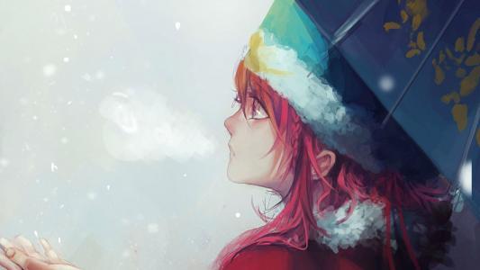 伤心的女孩在雪地里