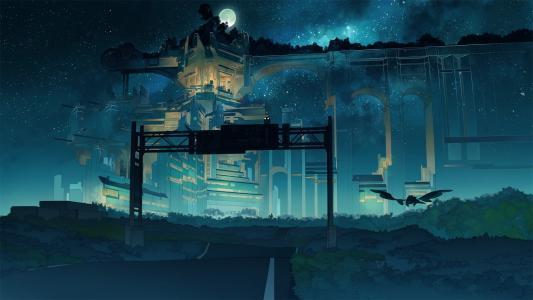 月光下的城市