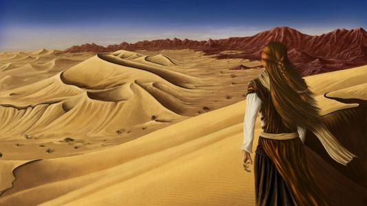 独自在沙漠中