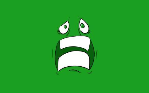 害怕的绿色的脸