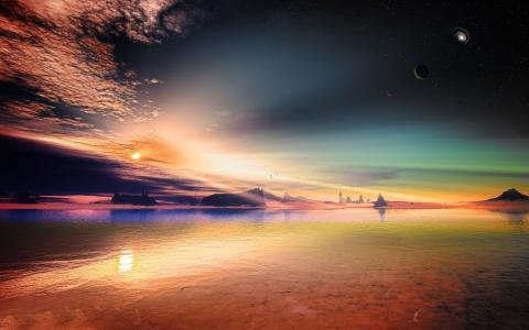 多彩的海边景观