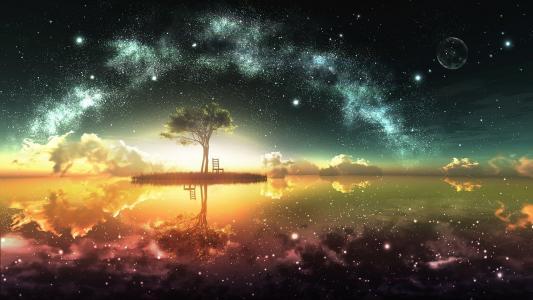 在五颜六色的夜空下的小岛