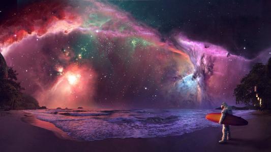 冲浪在五颜六色的夜空下的宇航员