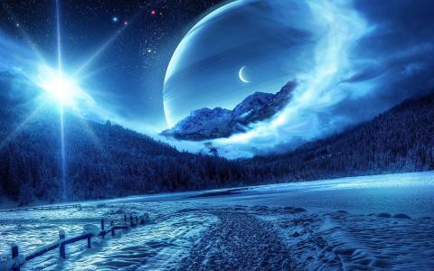星球在冬天的景色