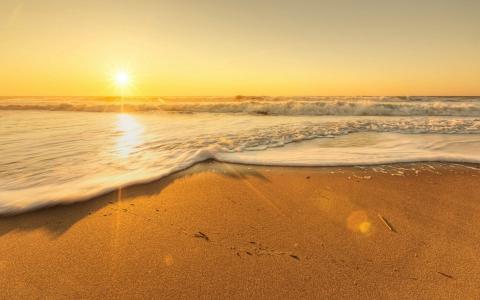 阳光明媚的沙滩上