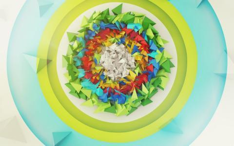 多彩的三角形在圈子里
