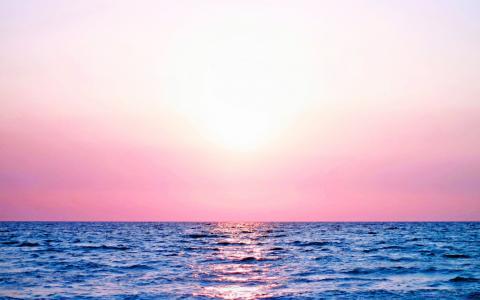 大海唯美日落