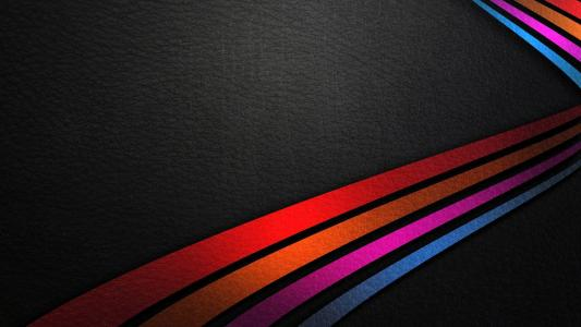 在皮革背景的彩色的线条