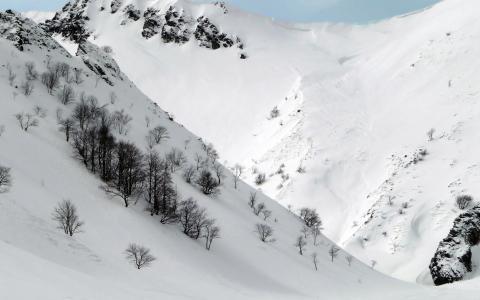 白色的山边