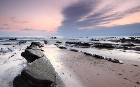 在海滩上的粉红色天空